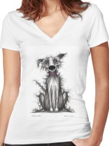 Fuzzy dog Women's Fitted V-Neck T-Shirt