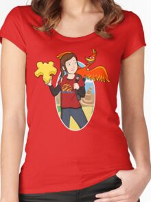Ellie & Kazooie going on an Adventure. Women's Fitted Scoop T-Shirt