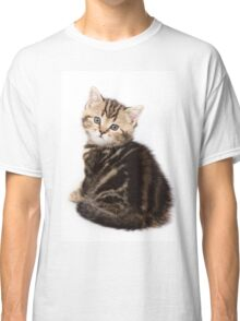 Striped cute  fluffy kitten Classic T-Shirt