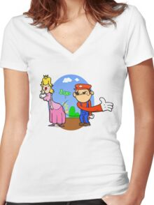 Princess Peach is in da' castle! Women's Fitted V-Neck T-Shirt