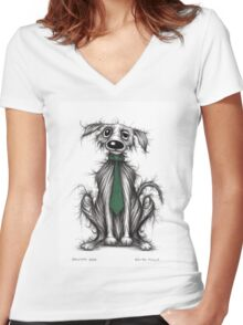 Grumpy dog Women's Fitted V-Neck T-Shirt
