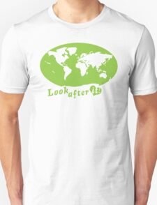 THE WORLD look after it! with heart (in green) Unisex T-Shirt