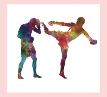 Two men exercising thai boxing silhouette 01 One Piece - Short Sleeve