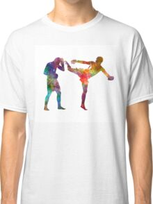 Two men exercising thai boxing silhouette 01 Classic T-Shirt