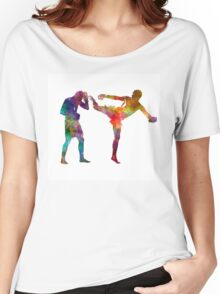 Two men exercising thai boxing silhouette 01 Women's Relaxed Fit T-Shirt