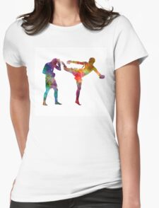 Two men exercising thai boxing silhouette 01 Womens Fitted T-Shirt