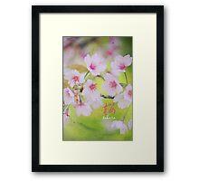 Pale Pink Sakura Cherry Blossoms Vintage Paper Textures Framed Print