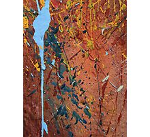 Blue and Yellow Splatters on a Red Wall Photographic Print