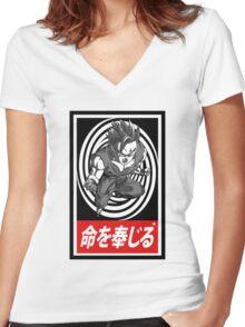 Super Saiyan vortex Aesthetics Women's Fitted V-Neck T-Shirt