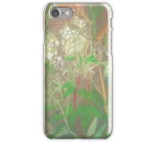 """White flowers"", summer plants, pastel painting, life sketch iPhone Case/Skin"