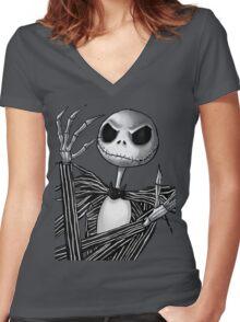 Jack Skellington Women's Fitted V-Neck T-Shirt