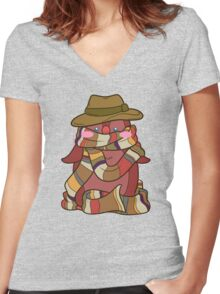 Fourth Doctor Penguin - Doctor Who Women's Fitted V-Neck T-Shirt