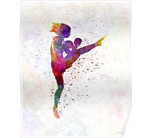 woman boxer boxing kickboxing silhouette isolated 01 Poster