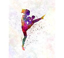 woman boxer boxing kickboxing silhouette isolated 01 Photographic Print