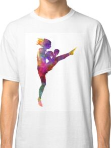 woman boxer boxing kickboxing silhouette isolated 01 Classic T-Shirt