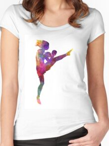woman boxer boxing kickboxing silhouette isolated 01 Women's Fitted Scoop T-Shirt