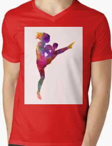 woman boxer boxing kickboxing silhouette isolated 01 Mens V-Neck T-Shirt