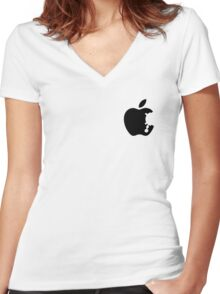 Dalek Apple White  Women's Fitted V-Neck T-Shirt