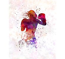 woman boxer boxing kickboxing silhouette isolated 02 Photographic Print