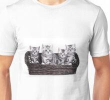 Four charming gray striped kitten British cat in a basket Unisex T-Shirt