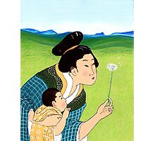 Mrs Hokusai Blows a Dandelion For The Baby Photographic Print