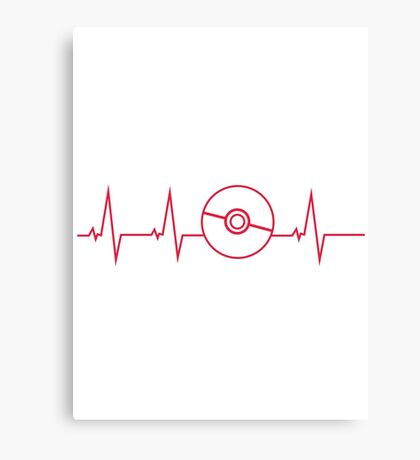 Pokemon Pokeball Heartbeat T-shirt Canvas Print