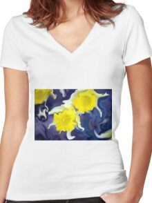 Daffodils - Bright Women's Fitted V-Neck T-Shirt
