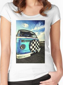 Chequered Blue Women's Fitted Scoop T-Shirt