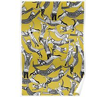 cat party ochre yellow Poster