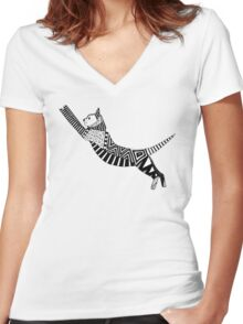 cat party black white Women's Fitted V-Neck T-Shirt