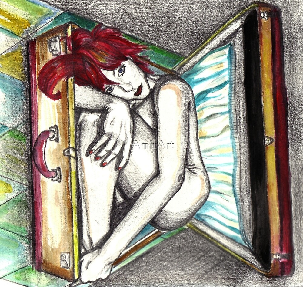 My Life In A Suitcase/ORIGINAL PAINTING by Amit Grubstein by AmitArt
