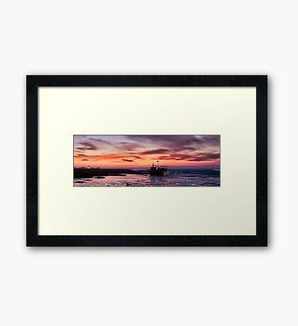 Lytham Boat Sunrise Framed Print