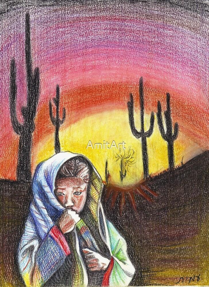 Desert Girl/ORIGINAL PAINTING by Amit Grubstein by AmitArt