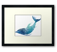 Watercolor playing dolphin Framed Print