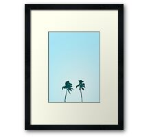 Twin Retro Palm Tree Silhouette Design Framed Print
