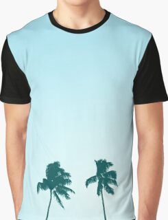 Twin Retro Palm Tree Silhouette Design Graphic T-Shirt