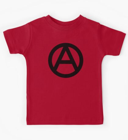 ANARCHY, Anarchist, Revolution, Rebellion, Revolt, Protest, Unrest, Disorder, Symbol, in black Kids Tee