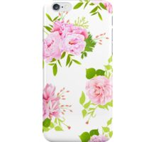 Beautiful pink peonies with green leaves on white seamless vector print in shabby chic style. iPhone Case/Skin