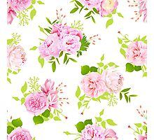 Beautiful pink peonies with green leaves on white seamless vector print in shabby chic style. Photographic Print