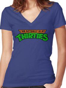 Teenage Mutant Ninja Thirties HARDCORE  Women's Fitted V-Neck T-Shirt