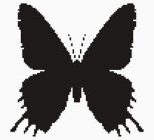 8-bit Simplex pixel Black butterfly Kids Tee