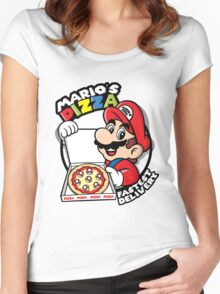 Mario's pizza Women's Fitted Scoop T-Shirt