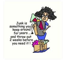 Humorous Getting Rid of Junk Art Print