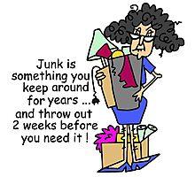 Humorous Getting Rid of Junk Photographic Print