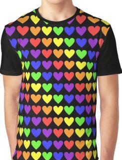 Humour - Rainbow Hearts Graphic T-Shirt