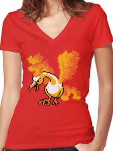 Moltres Retro Women's Fitted V-Neck T-Shirt