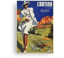 Vintage Italian Alps Cortina summer travel advert Canvas Print