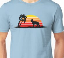 German Shepherd on Sunset Beach Unisex T-Shirt