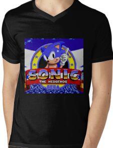 sonic sega logo Mens V-Neck T-Shirt