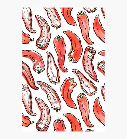 Hand drawn pattern with paprika Photographic Print